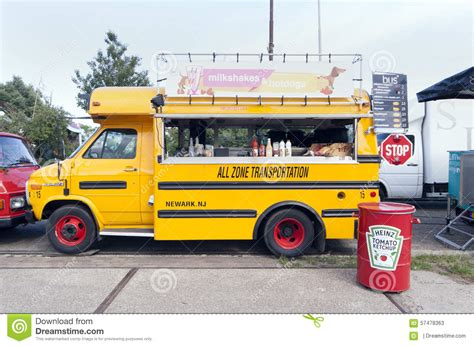 American School Bus In Use As A Food Truck Editorial Stock