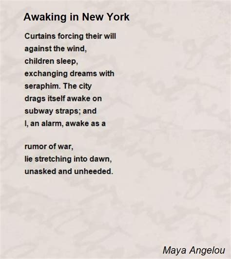 modern in nyc awaking in new york poem by angelou poem