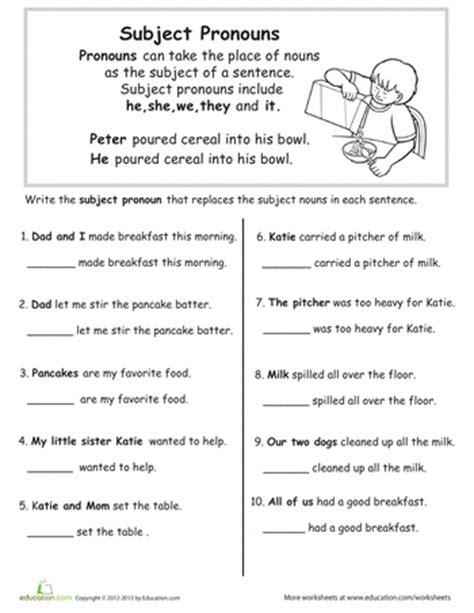 grammar basics subject pronouns grammar worksheets