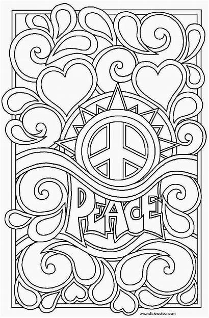 Peace Coloring Pages Hearts Colouring Printable Signs