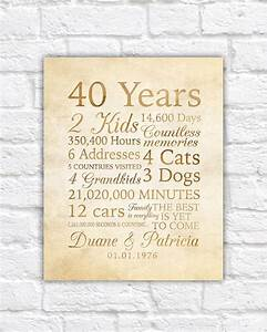 25 best ideas about 40th anniversary gifts on pinterest With 40 year wedding anniversary gift
