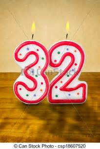 Number 32 Birthday Candle