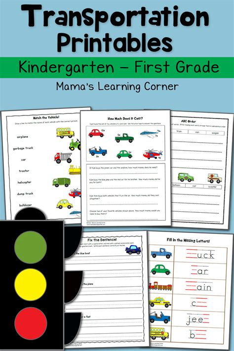 Transportation Worksheets For Kindergarten And First Grade  Mamas Learning Corner
