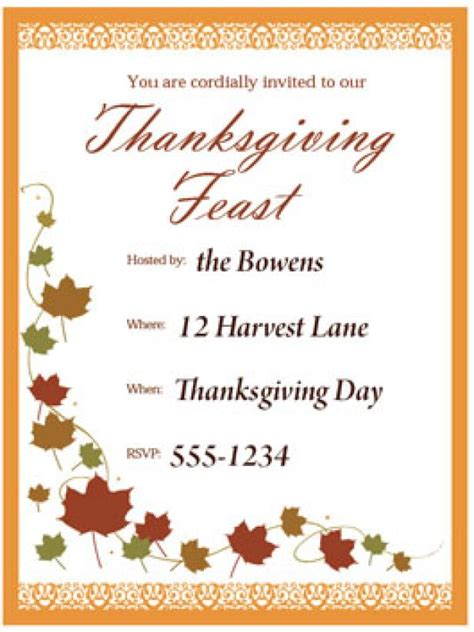 print  customizable thanksgiving invite  hgtv hgtv