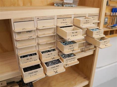 screw organizer  woodworking shop layout