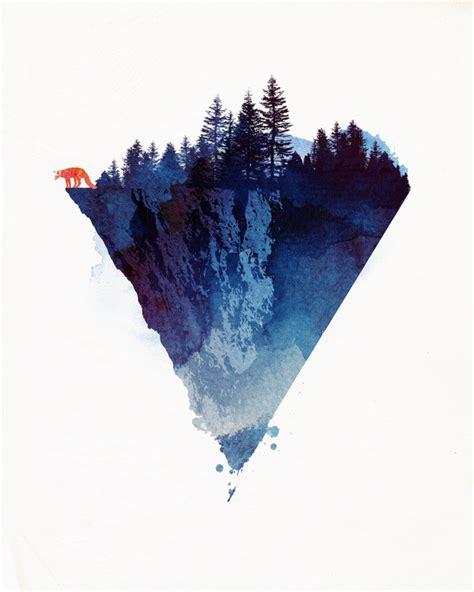drawing illustration art red animals wolf design trees