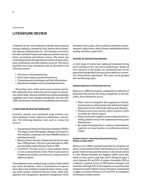 chapter  literature review distracted driving