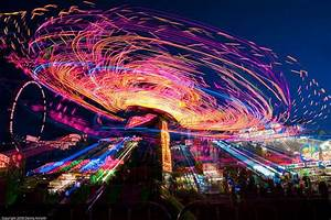 lights Awesome fair night time roller coasters spinning ...
