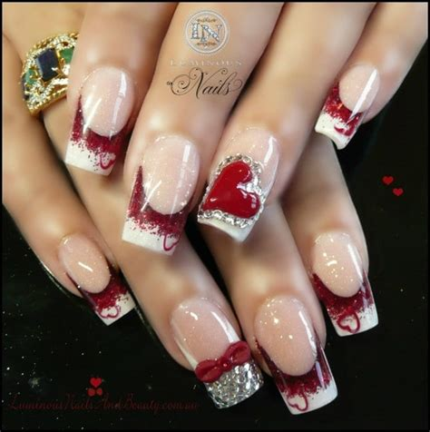 romantic  lovely nail art design  valentines day
