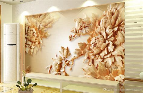 wooden peony flower tv wall mural  wallpaper  wall
