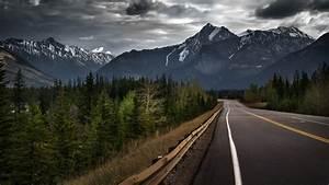 Landscape, Clouds, Rock, Mountain, Forest, Storm, Road