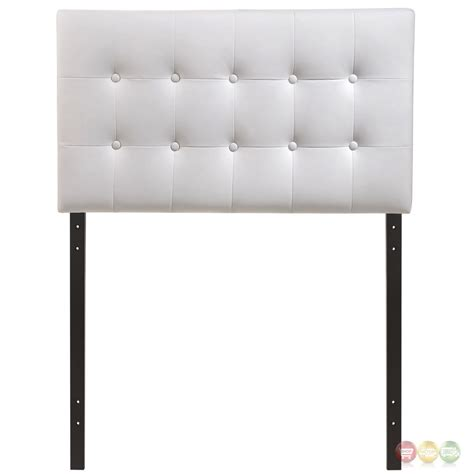 Emily Modern Button Tufted Twin Faux Leather Headboard White