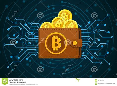 Concept Of Crypto Currency. Brown Bitcoin Wallet With