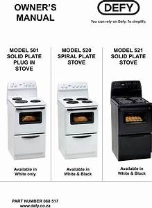 Defy Solid Plate Plug In Stove 501 Users Manual 068 517