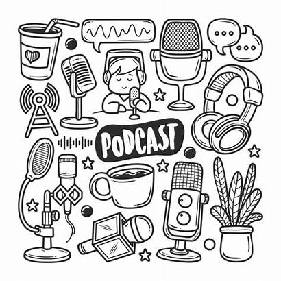 Podcast Vector Doodle Hand Icons Coloring Premium