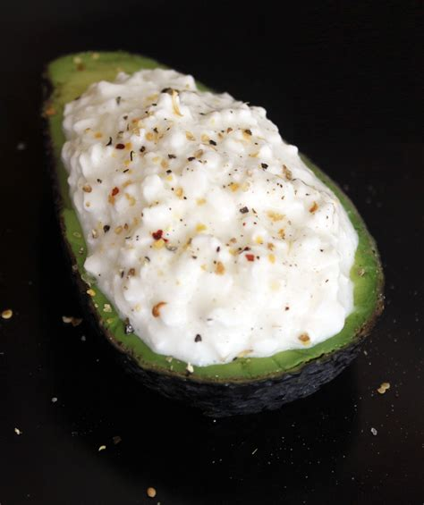 healthy cottage cheese avocado and cottage cheese snack popsugar fitness