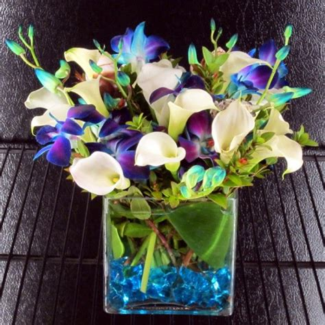 white mini calla lilies   dyed blue bombay orchids