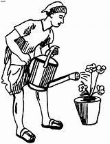 Gardener Drawing Gardening Sketch Coloring Pruners Template Getdrawings sketch template