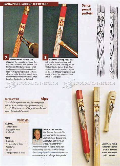 whittling santa pencils wood carving patterns
