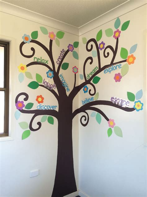 tree wall art  painted   classroom paint  trunk