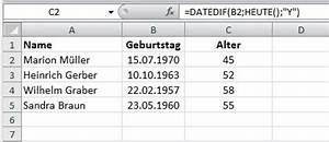 Excel Alter Berechnen Aus Geburtsdatum : excel tipps f r den b roalltag seite 2 von 2 backoffice for you ~ Themetempest.com Abrechnung