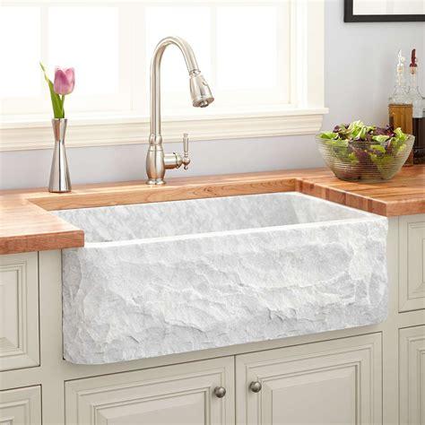33 Polished Marble Farmhouse Sink Chiseled Apron