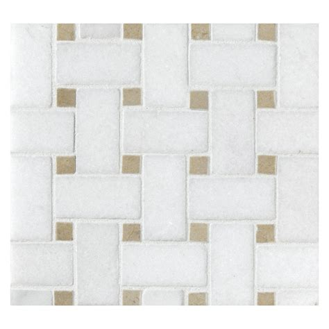 basketweave mosaic tile polished thassos marble with