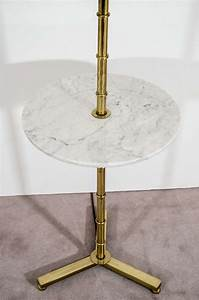 mid century brass faux bamboo lamp with marble table at With antique brass floor lamp with marble table