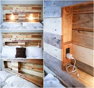 cool kids bookshelves pallets bed headboard with integrated lightning 1001 pallets