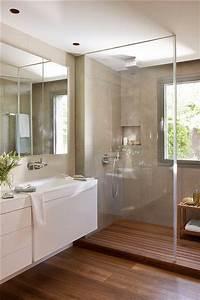 10 banheiros com porcelanato cimento queimado jeito de With carrelage adhesif salle de bain avec led deck lights