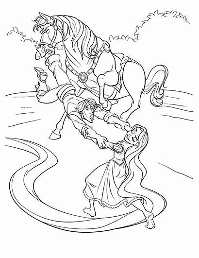Rapunzel Coloring Dibujos Flynn Dibujo Pintar Caballo