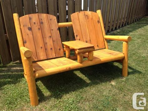 rustic adirondack cedar log bench with table for sale in