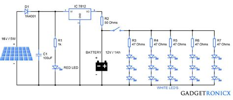 solar garden lights circuit diagram schematic design