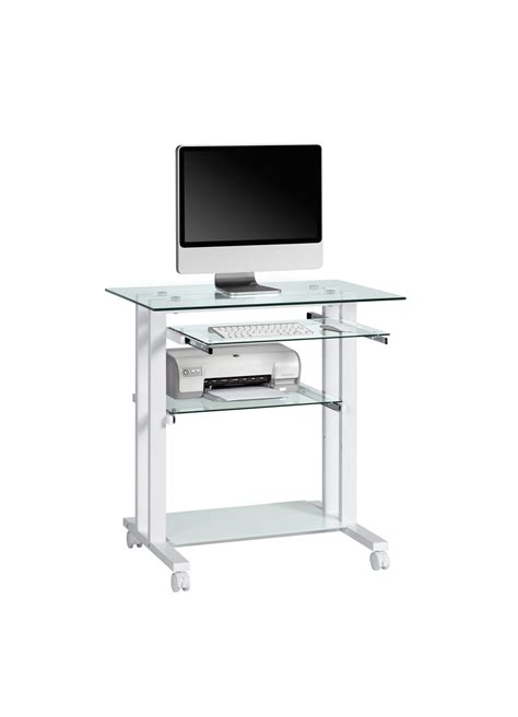 bureau verre but console informatique en verre