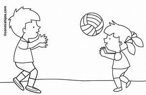 Ausmalbild Sport Kinder Spielen Volleyball Kostenlos