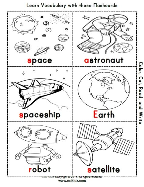 space activities games and worksheets for kids