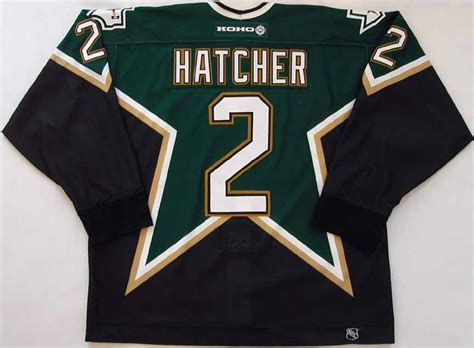 derian hatcher dallas stars game worn jersey nhl