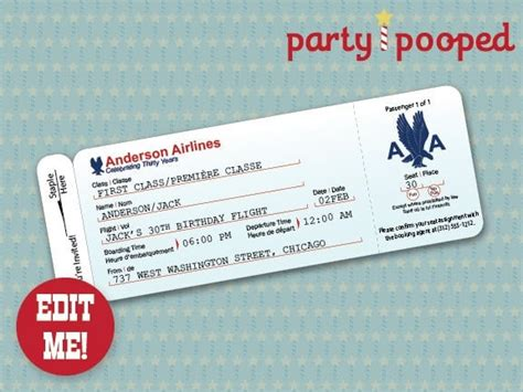 free printable airline ticket printable ticket invitation template
