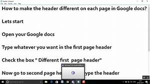 how to make the header different on each page in google With google docs delete unwanted page