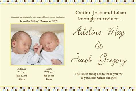 twin birth announcements photo cards twin birth announcement photo cards with spotted banner