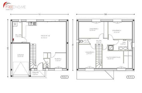 plan maison etage 4 chambres 1 bureau plan maison 100m2 étage