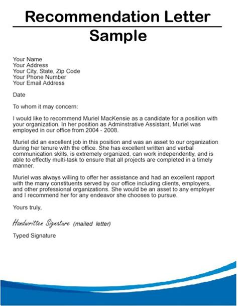 writing a reference letter letter of recommendation format sle template 25825