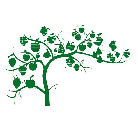 Green Silhouette - Apple tree laden with green silhouette ...