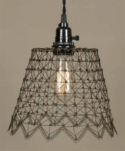 Primitive French Chicken Wire Swag Lamp Shade Pro