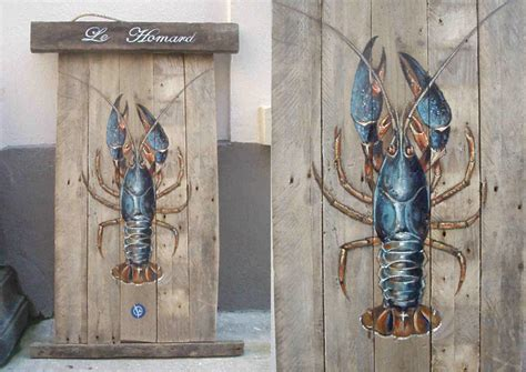 le de wood peinture homard sur bois flott 233 1m x 63 acrylique val 233 rie neige