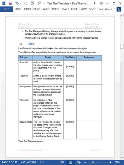 test plan templates templates forms checklists  ms