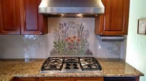 Decorative Kitchen Backsplash Quot Flowering Herb Garden Quot Decorative Kitchen Backsplash Tile Mural Kitchen Other Metro By