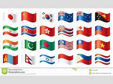 Wavy Flags Set Asia & Oceania Royalty Free Stock Images