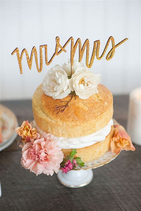 mr and mrs wedding cake topper in gold silver or