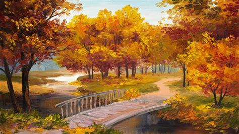 pictorial art autumn parks bridges pond wallpaper desktop